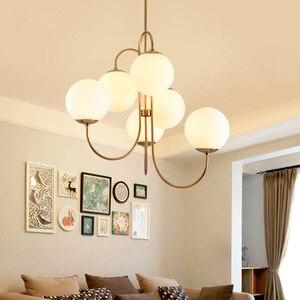 Image 2 - Современный подвесной светильник в скандинавском стиле золотого цвета с 6 стеклянными шариками, лампа молочного белого цвета для столовой, бара, ресторана, подвеска, Светодиодная лампа E27
