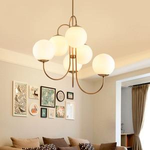 Image 2 - Modern Nordic Gold 6 Lights Glass Ball Pendant Light Lamp Milk White for Dining Room Bar Restaurant Suspension E27 LED Lamp