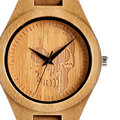 Cool Nature Wooden Hand-made Bamboo Skull Dial Design Men's Watches with Brown Genuine Leather Band for Gift Reloj de madera