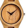 Fresco De Madera Natural de Bambú hecha A Mano Del Cráneo Diseño Dial Relojes con Banda de Cuero Marrón Genuino de Los Hombres para el Regalo Reloj de madera