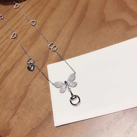 New Brand Pure 925 Sterling Silver Jewelry For Women Butterfly Neckalce Bowknot Heart Pendant Cute Fashion Party Silver Jewelry