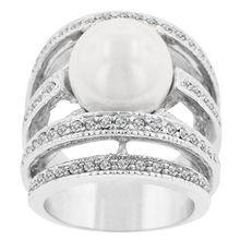 Мода Высокое Качество CZ Кольцо Белый Микро-вставки Кристаллов Подражать Жемчуг Кольца Для Женщин Свадебные Украшения