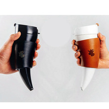 Creative Goat Horns Stainless Steel Thermos Mug Coffee Cup Insulation Vacuum Thermos Flask Couple Traveling Cup Water Bottle