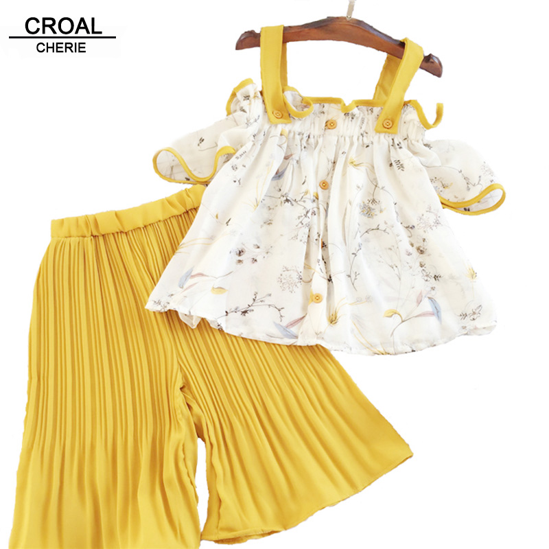 6d451bf420f16 CROAL CHERIE 90-130cm Fashion Ruffle Summer Toddler Girls Clothing Sets  Chiffon Baby Girl Clothes Beach Top + Pants 2Pcs