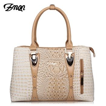 ZMQN Luxury Handbags Women Bag Designer 2017 High Quality Fashion Crocodile Tote Bags Handbag Women Famous Brand PU Leather A804 Сумка