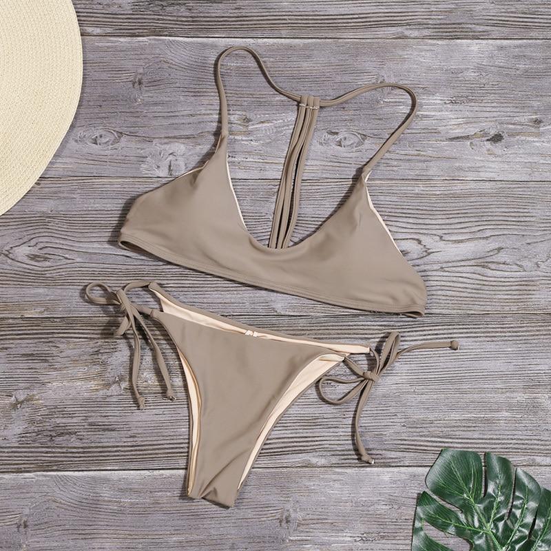 HTB1dMb8XROD3KVjSZFFq6An9pXaE Solid Bandage Bikini Set Women Sexy High Cut Bathing Suit Swimsuit New Low Waist Halter Top Swimwear Summer Beachwear Biquini