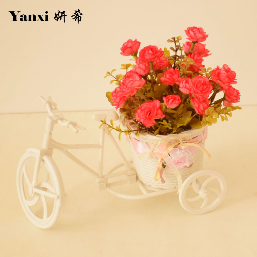 Small white bicycle vase with silk roses artificial flowers for small white bicycle vase with silk roses artificial flowers for homes tabletop party weddings decorations flowerpot set red pink in artificial dried floridaeventfo Images