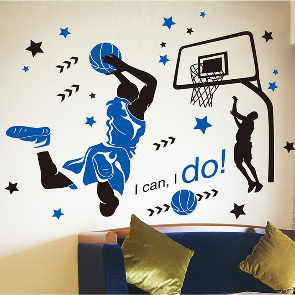 Children bedroom 3d basketball wall stickers removable - Childrens bedroom wall stickers removable ...