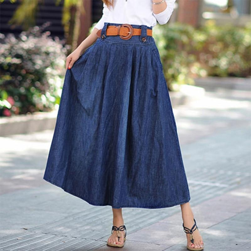 2018 Summer Jean Skirt Denim Women Skirts Long Denim Skirts High Waist Casual Empire Skirt Blue Slim Pleated Plus Size 5XL 6XL