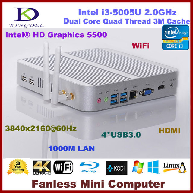 Fanless barebone pc núcleo i3-5005U Dual Core 2.0 ghz, Intel HD Graphics 5500,300 M wi fi, Hdmi, Vga, Windows 7 / 8 / 10 suporte