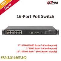 Dahua 16 포트 PoE 스위치 PFS4218-16ET-240 2*10/100/1000 자료-T 로고 보안 시스