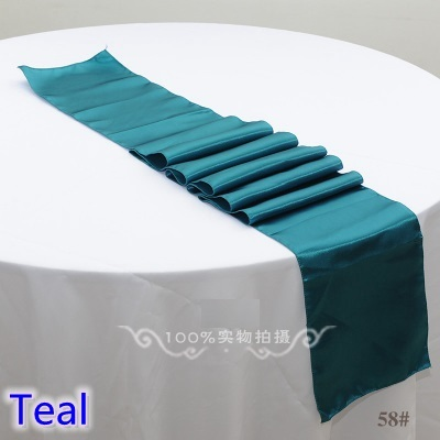 Teal Colour Wedding Table Runner Decoration Satin For Modern Party Home Hotel Banquet