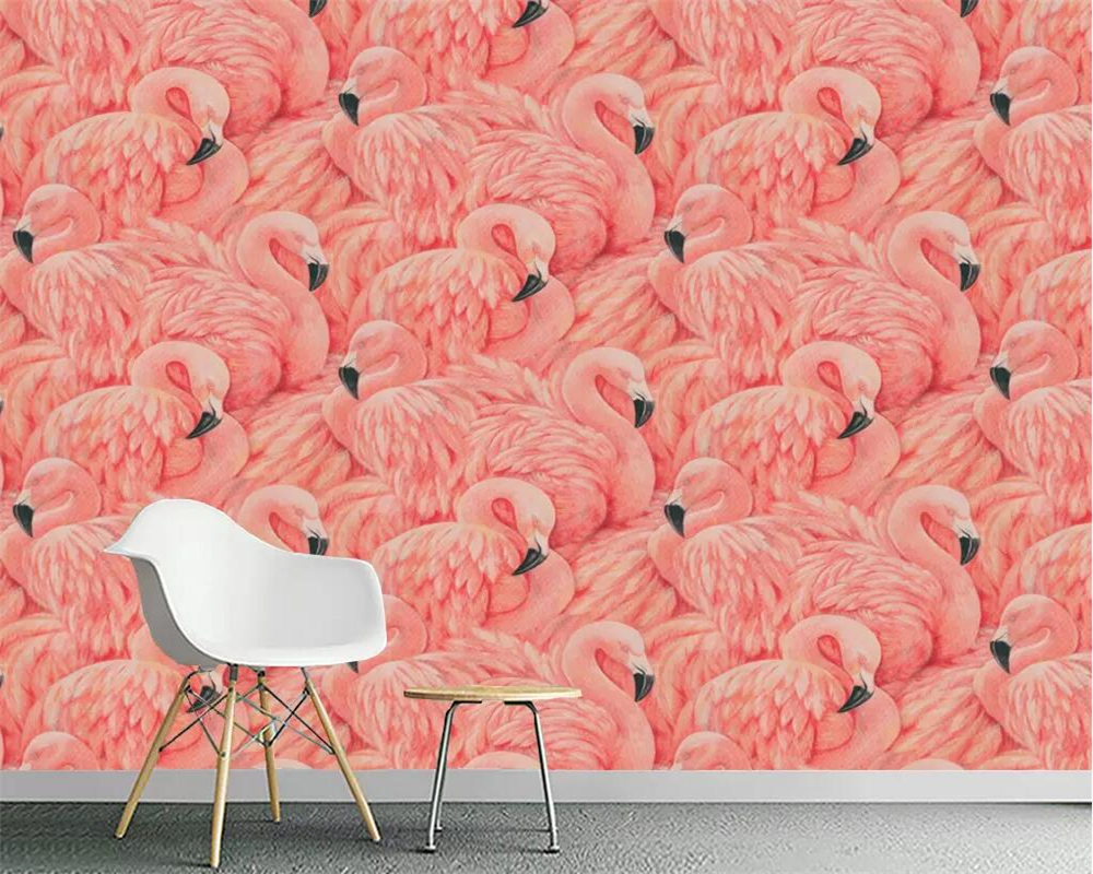 Beibehang Wallpaper Mural Hand-painted Flamingo European TV Background Home Decoration Living Room Bedroom Mural 3d Wallpaper