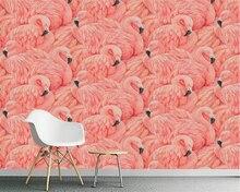 Купить с кэшбэком Beibehang Wallpaper mural hand-painted flamingo European TV background home decoration living room bedroom mural 3d wallpaper