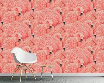 цена на Beibehang Wallpaper mural hand-painted flamingo European TV background home decoration living room bedroom mural 3d wallpaper