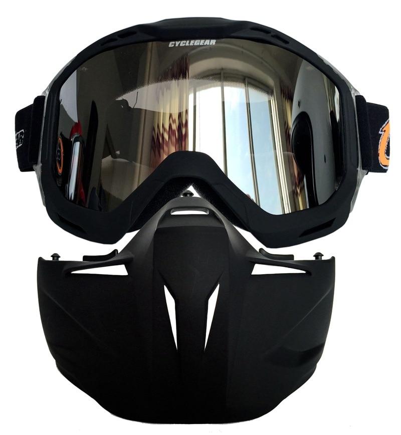 Lunettes de moto Masque amovible, Harley Style Casque de protection de rembourrage Lunettes de soleil, Route d'équitation UV Lunettes de moto, mixte femme (Lentille de vision nocturne)