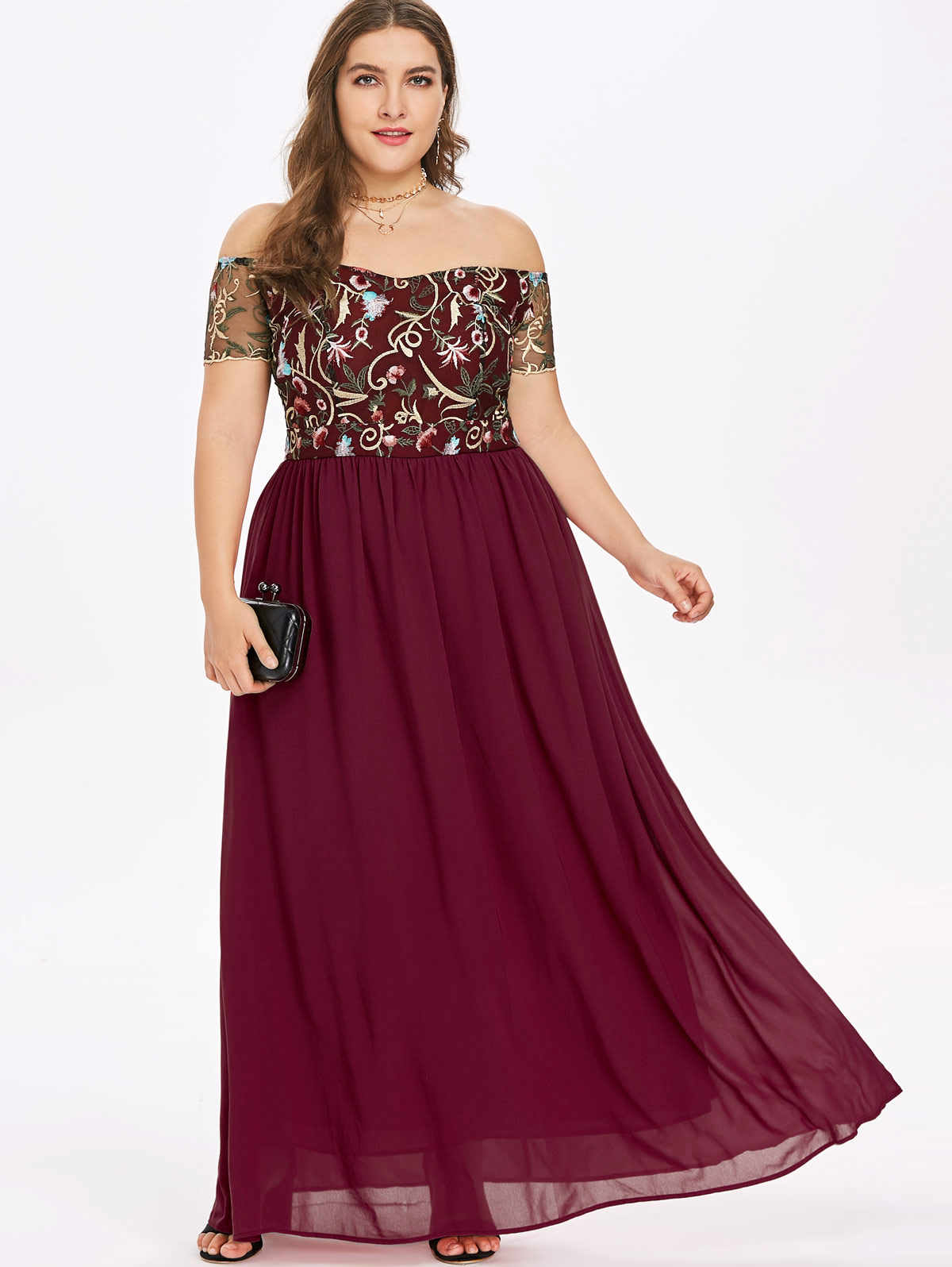 Wipalo Plus Size 5XL Floral Embroidery Off The Shoulder Maxi Dress High  Waist Floor-Length 18ab0a3c9513