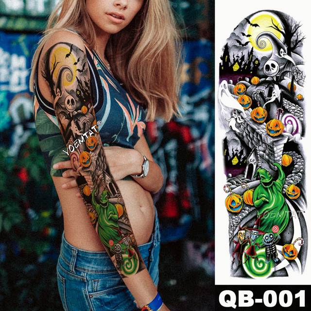 New 1 Piece Temporary Tattoo Sticker Skull Pumpkin halloween Tattoo with Arm Body Art Big Sleeve Large Fake Tattoo Sticker