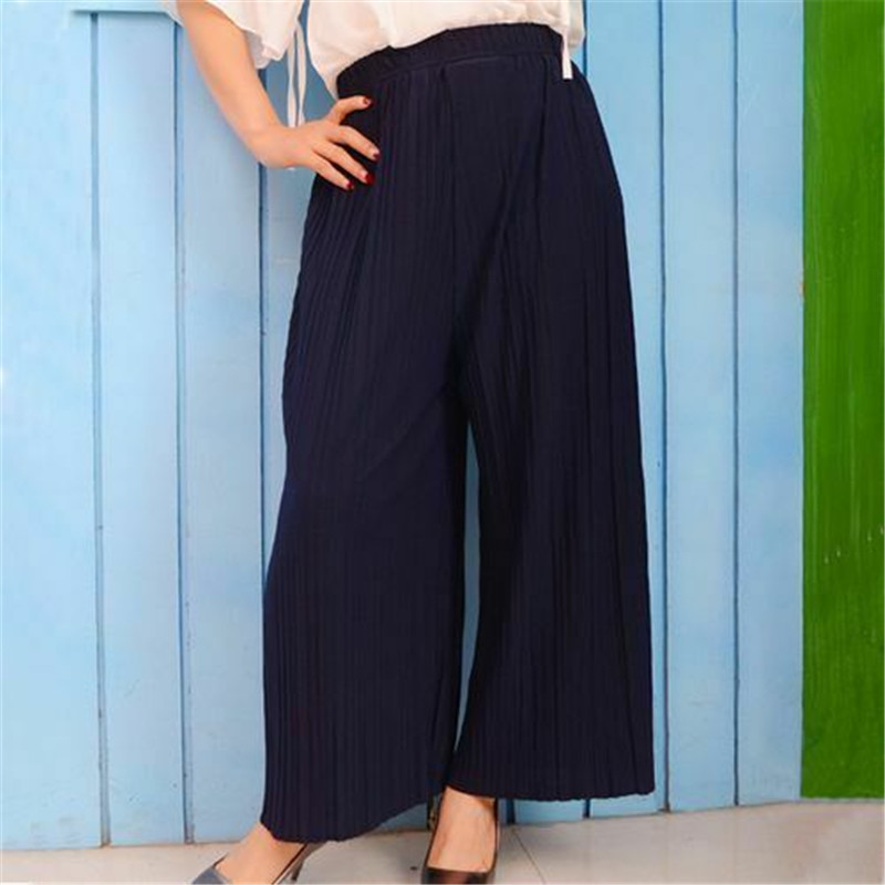 Elagant Woman Solid Pleated Chiffon Long Wide Leg Pants Female Summer 2019 New Korean Version Elastic High Waist Loose Pants