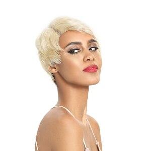 Image 3 - Trueme Ren Mặt Trước Con Người Tóc Giả 613 Tóc Vàng PIXIE Cắt Tóc Giả Ngắn Remy Brasil Tóc Giả Bên L Phần Ren tóc Giả Dành Cho Nữ