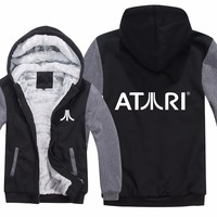 Atari Hoodies Jacket Winter Men Casual Wool Liner Fleece Atari Video Game Sweatshirts Pullover Man Coat