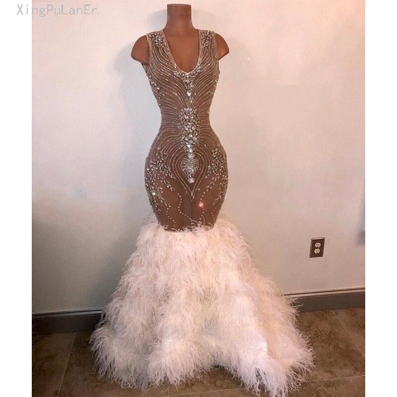 Strass de luxe cristal blanc plume sirène robes de bal longue robe formelle africaine filles noires remise des diplômes robe de Gala