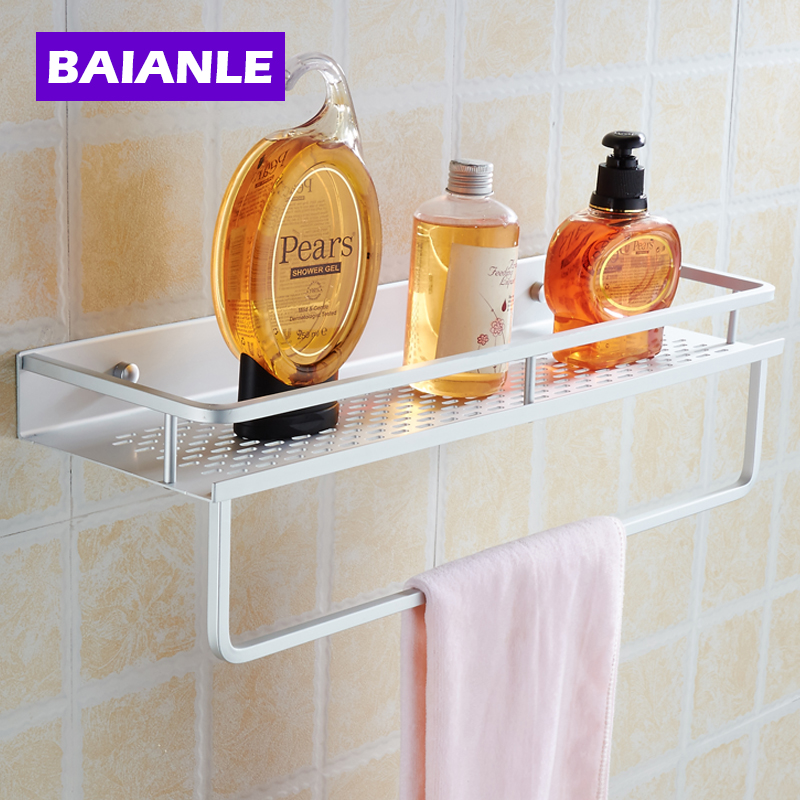 40/50cm two choices Aluminum Silver Bathroom Shelf For Shampoo Towel Holder Bathroom Accessories Shelf Toilet Mounting Bath Rack usb3 0 round type panel mounting usb connecter silver surface