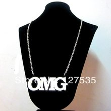 latest fashion women jewelry accessories cheap alphabet big letter OMG statement necklace(China)