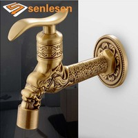 Wholesale And Retail Free Shipping NEW Single Handle Wall Mounted Antique Brass Washing Machine Tap Laundry