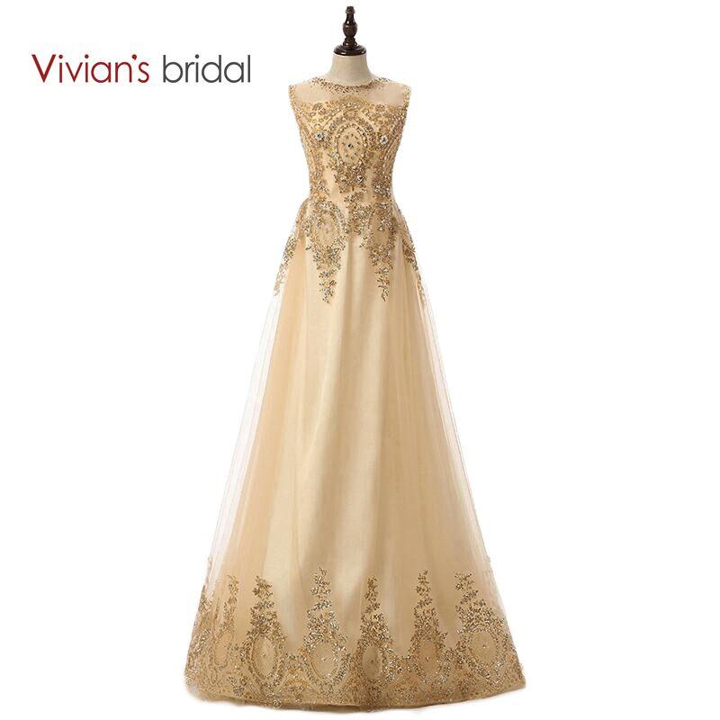 Vivian's Bridal Champagne Long Evening Dresses 2016 En Line Tulle Golv Längd Kanter Crystal Beaded Formella Aftonklänningar Klänningar