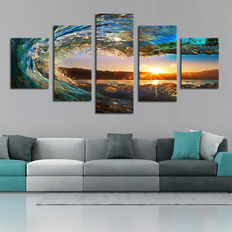 5 piece sea wave painting large canvas wall art huge for 5 piece mural