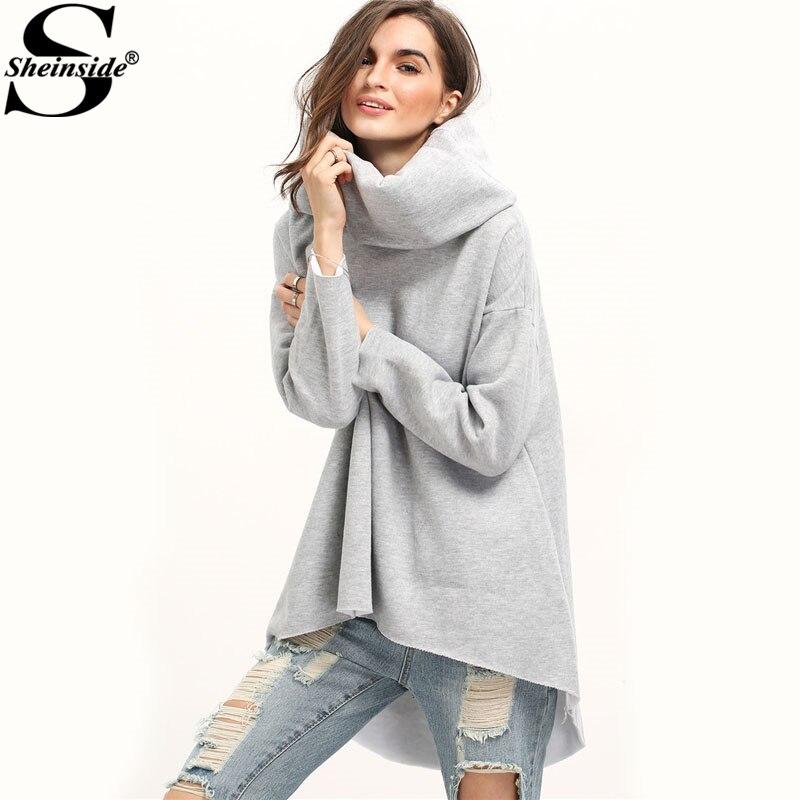 Sheinside Grey Cowl Neck Dip Hem Loose Sweatshirt 2017 Women's High Neck Long Sleeve Plain Pullovers Autumn Casual Top