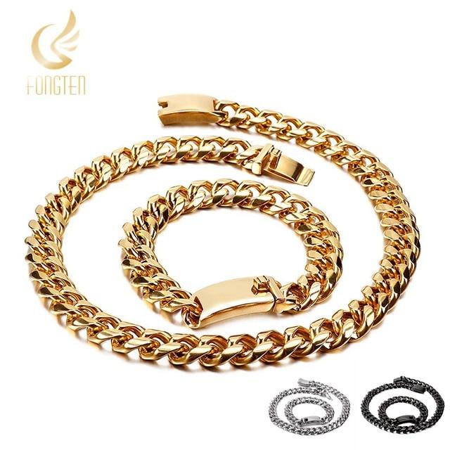 0d86fa2dda47 Comparar Cadena de eslabones gruesos largos plata/oro/negro acero ...