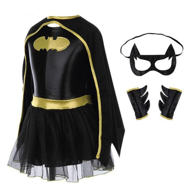 Vestido Tutu Meninas Com Capas de Super-heróis Batman E Máscara Traje Crianças Halloween Natal Cosplay Roupas Cosplay Traje Do Bebê