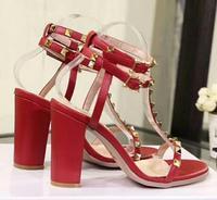 Classics V Brand Women High Heel Sandal With Rivets Red Wedding Shoes Coarse Heel Genuine Leather Women Sandal 10cm 35 42 Box