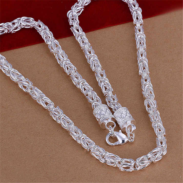Silver 925 Chains Necklace Fashion Jewelry Accessories Dragon Necklaces for Men Women 20 inch Collares Christmas Gifts Bijoux