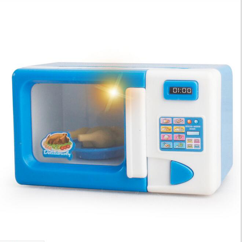 Blue Microwave Oven ModelsEducational Toys For Children Kitchen Pretend  Play Simulation Role Kids Baby Toy Gifts