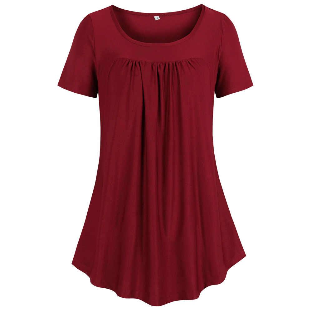 Wipalo Delle Donne Più Il Formato Irregolare Orlo Drappeggiato Solido Casual O Collo T-Shirt Maniche Corte Sciolto Montato Signore di Estate Tee Femminile magliette e camicette