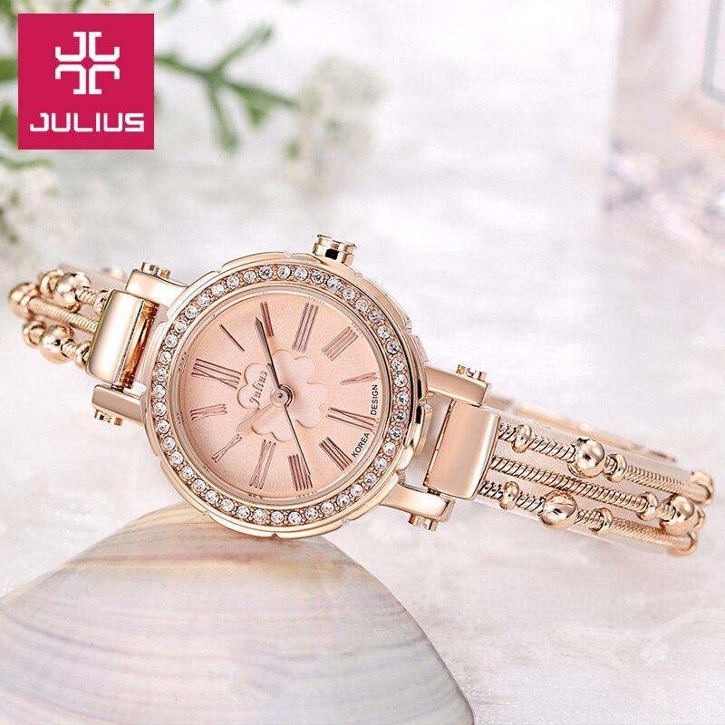 Top Julius Lady Women s Watch Japan Quartz Hours Fine Fashion Clock Beads Chain Bracelet Clover