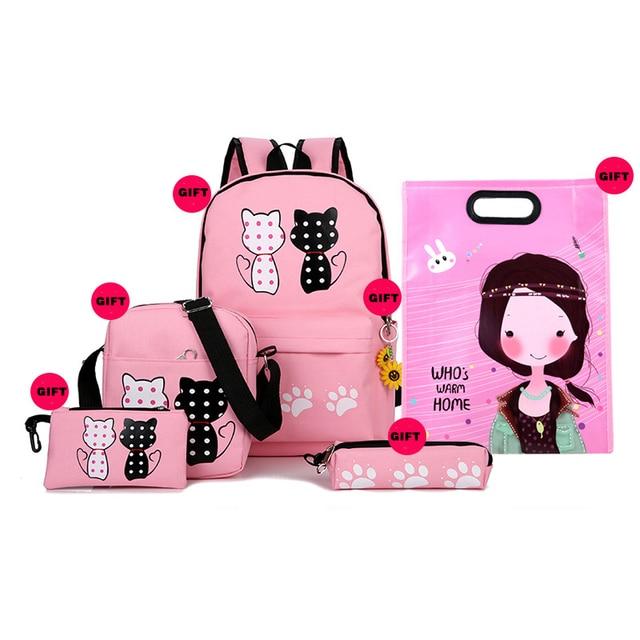 Hot Sale Fashion 5pcs Set Bag Women Backpack Cute School Backpacks For Teenage Girls Female Shoulder Bag school bags Student School Bags