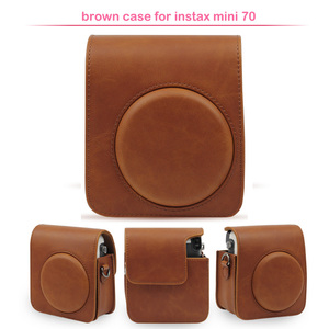 Image 2 - Protective PU Leather Classic Camera Case Bag with Shoulder Strap, Compatible for Fujifilm Instax Mini 70 Instant Camera