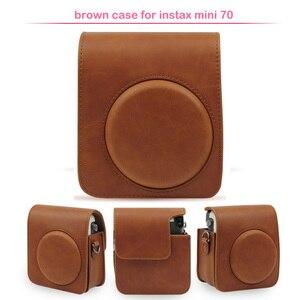 Image 2 - Sac de protection classique en cuir pour appareil photo avec bandoulière, Compatible pour appareil photo instantané Fujifilm Instax Mini 70