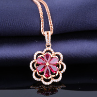 Robira 2017 Fashion 18K Rose Gold Ruby Necklace for Women Jewelry Vintage Flower Statement Necklaces Pendants Collares Collie