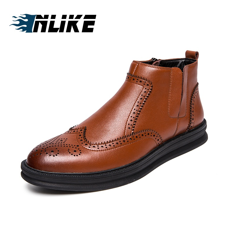 INLIKE Hot Sale Boots Men Warmest Leather Boots Handmade Outdoor Winter Working Boots Brogue Boots
