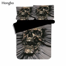 Hongbo 3D Black Skull Printed Duvet Cover Set Single Double Queen King Bedclothes Bed Linen Bedding Sets(No Sheet No Filling)