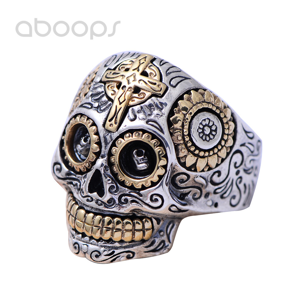 Two Tone Vintage 925 Sterling Silver Biker Sugar Skull Head Ring Jewelry with Cross for Men Boys Size 8.5-13 Free Shipping plus size button detail two tone top