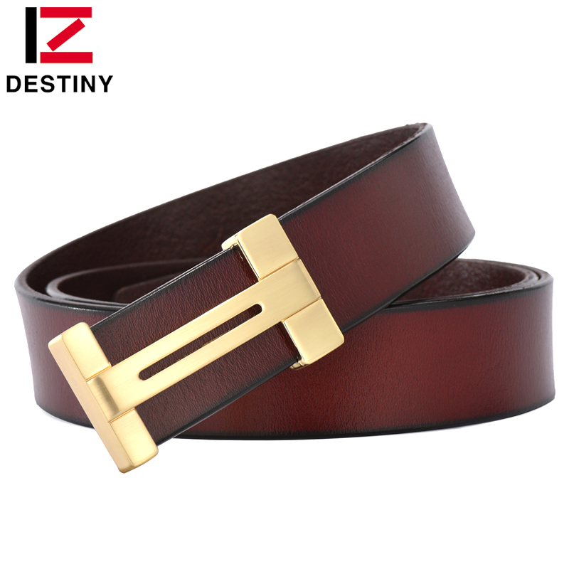 DESTINY gold h   belt   men luxury famous brand designer male genuine leather strap high quality brown black vintage for jeans cinto