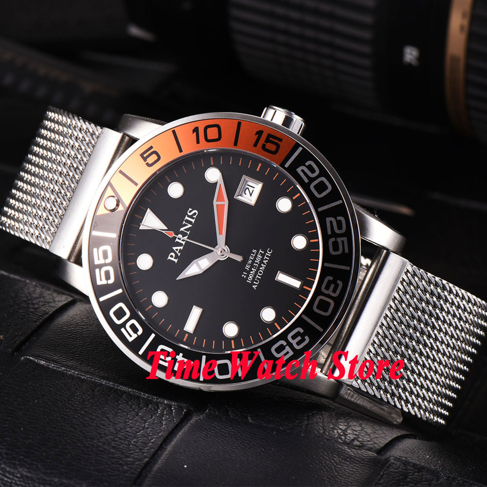 Parnis 42mm black dial luminous sapphire glass metal strap 21 jewels MIYOTA 821A Automatic mens watch men 370Parnis 42mm black dial luminous sapphire glass metal strap 21 jewels MIYOTA 821A Automatic mens watch men 370