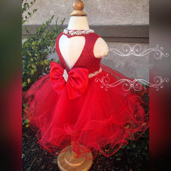 Sweet red sequined flower girl dress with crystal bow attractive sparkly heart backless little girls birthday pageant occasion