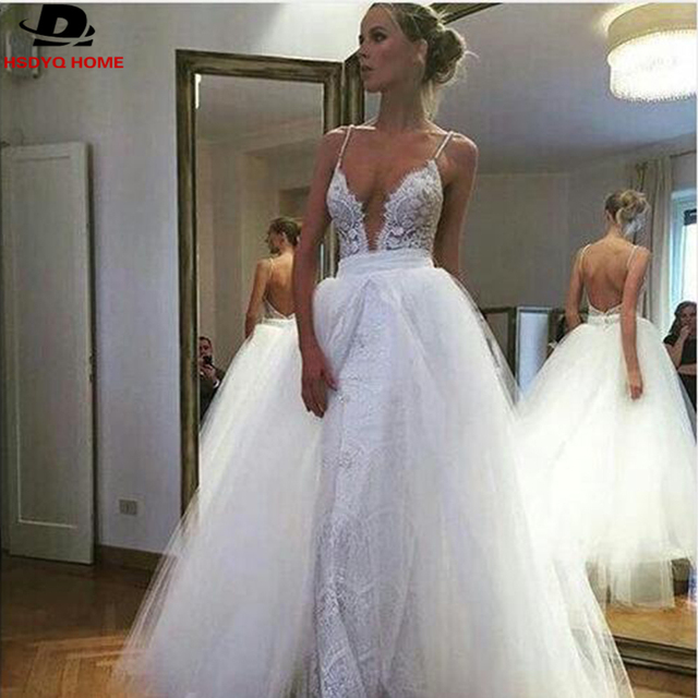 White Deep V Neck Lace Wedding Dress Two Piece Remove Skirt Open ...